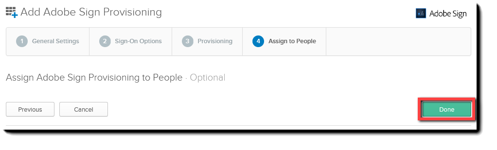Okta Provisioning Done button