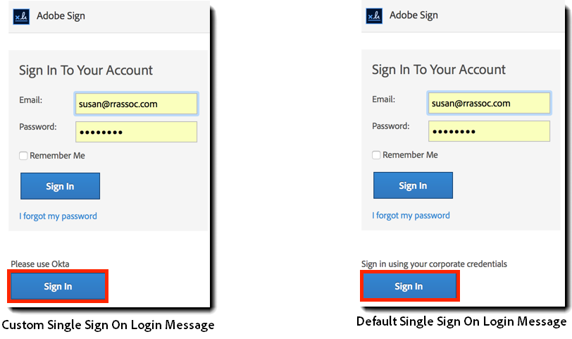 Adobe Sign login message showing both custom and default messaging.