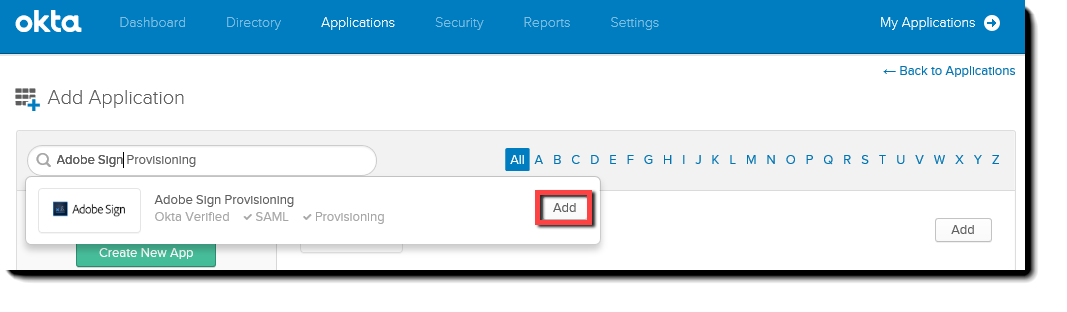 Okta Add button to add the Adobe Sign Provisioning application