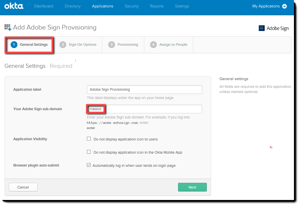 Okta General settings tab