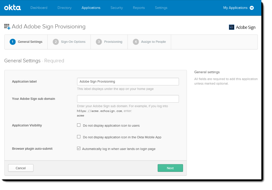 Okta  Add Adobe Sign Provisioning wizard