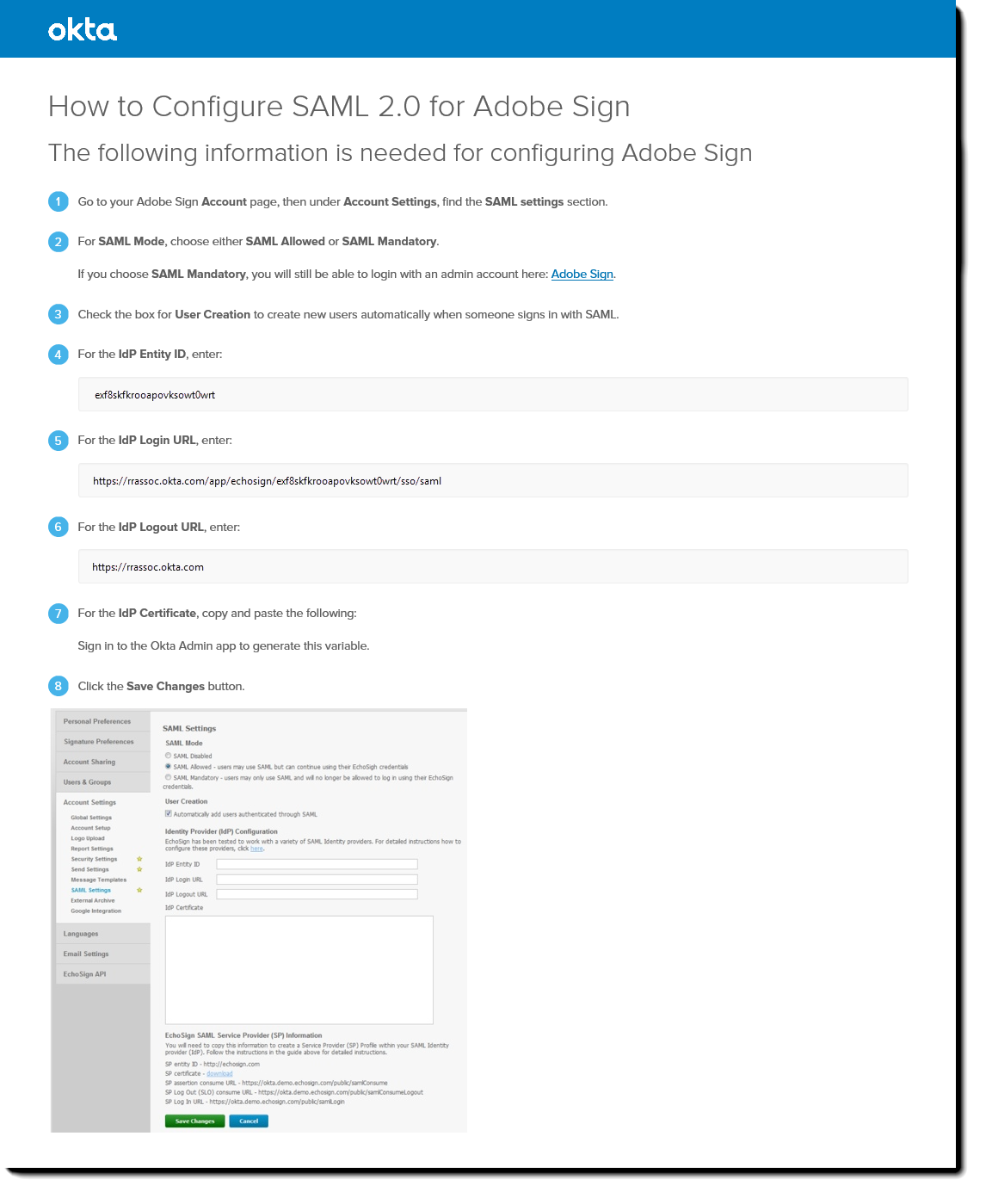 Okta How to Configure SAML 2.0 for Adobe Sign page