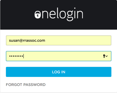 OneLogin Authentication panel