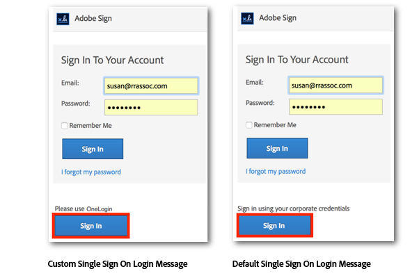 Adobe Sign Authentication panel with custom SSO message