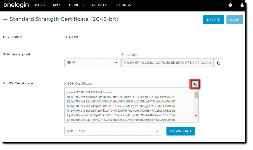 OneLogin Standard Strength Certificate page