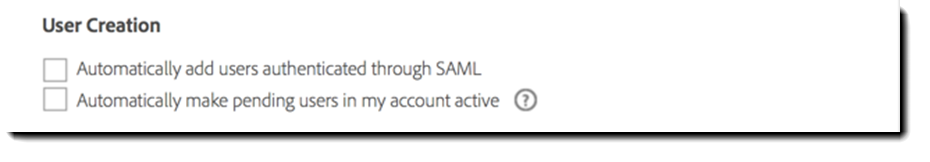 Adobe Sign SAML User Creation options