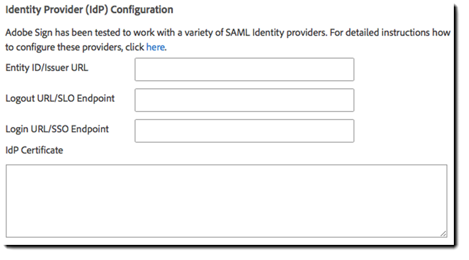 Adobe Sign SAML Identity Provider Configuration