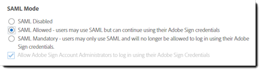 Adobe Sign SAML Mode options