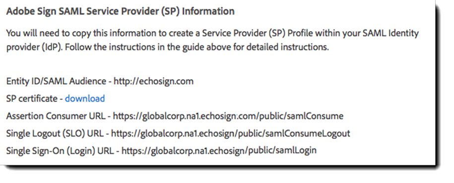 Adobe Sign SAML Service Provider Information