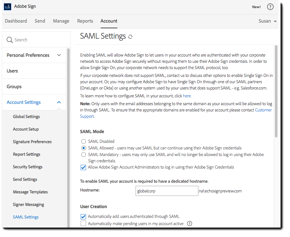 Adobe Sign SAML Settings within the Adobe Sign application