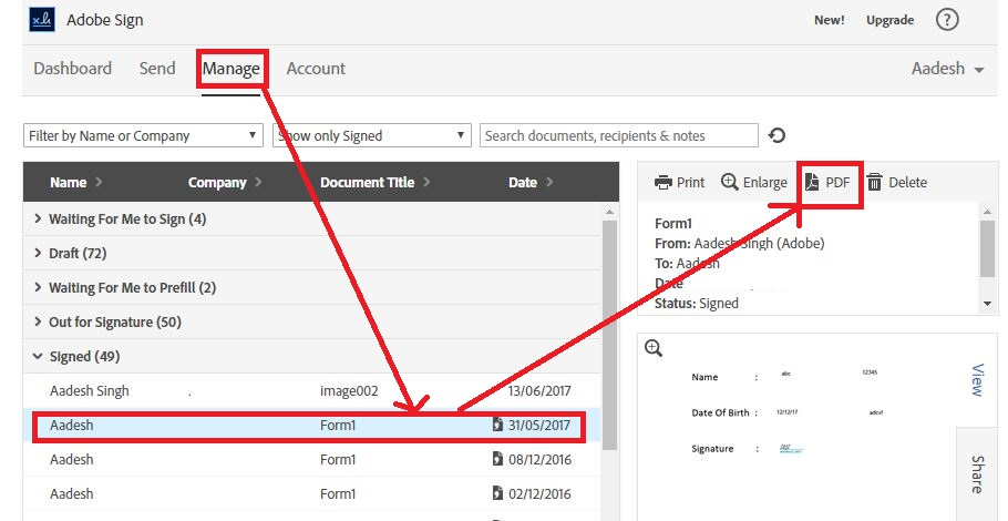 How to download signed documents | adobe sign.
