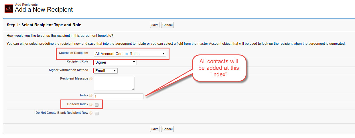 How To Use The Uniform Index Field On The Add Recipient Object In