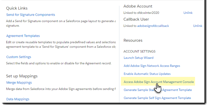 Access Adobe Sign Account Management Console