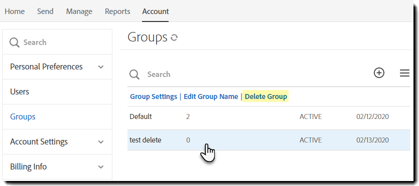 Delete  Group