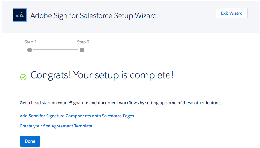 Success! message when the wizard has linked your account to enable automatic status updates.