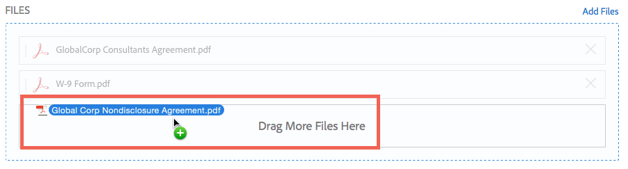 Drag-and-drop files from your computer to the Drag More Files Here area.