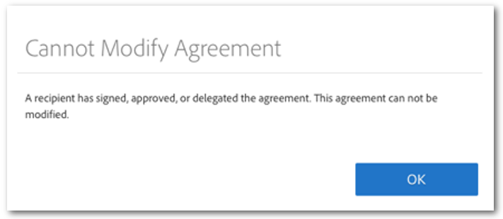 "The ""Cannot Modify Agreement"" message"