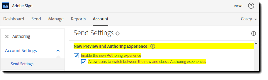 Authoring option