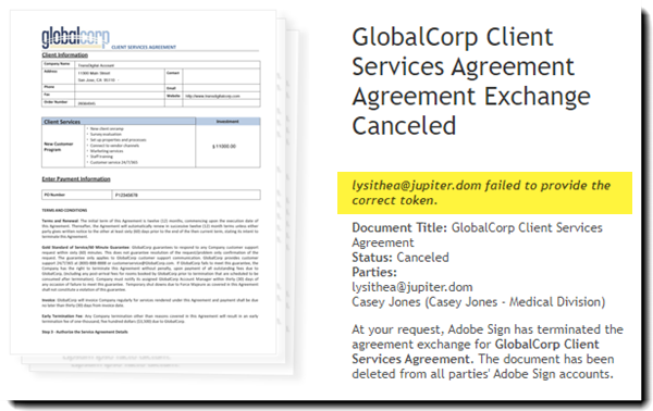 Canceled agreement due to ID failure