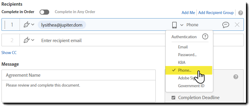 Select the authenticaation method