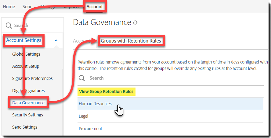 Access Group settings via Account level data governance