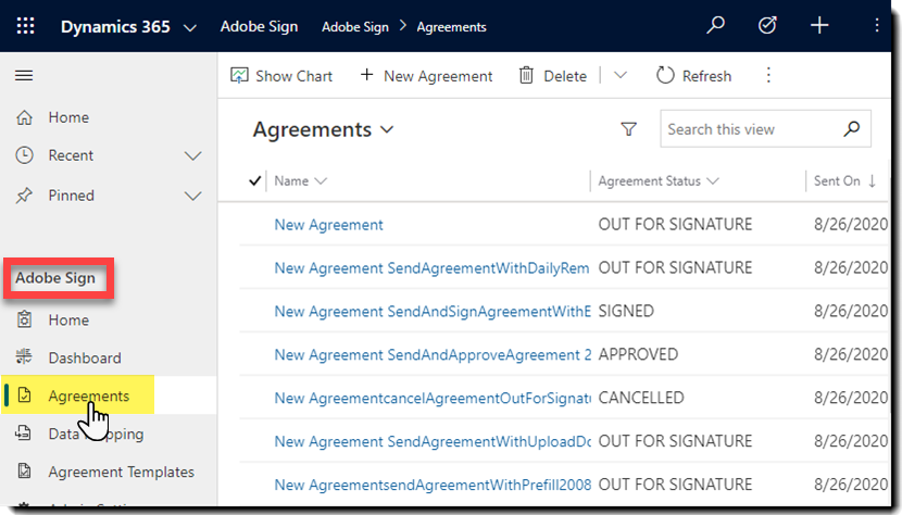 Navigate to Main > Adobe Sign > Agreements