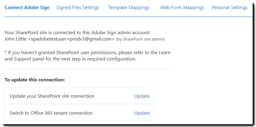 Update connection to Adobe Sign
