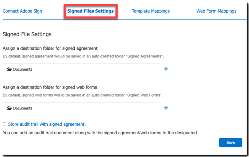 Signed Files Settings