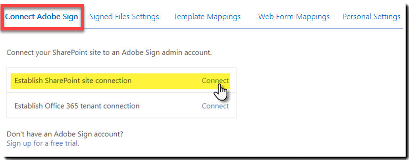 Connect to Adobe Sign