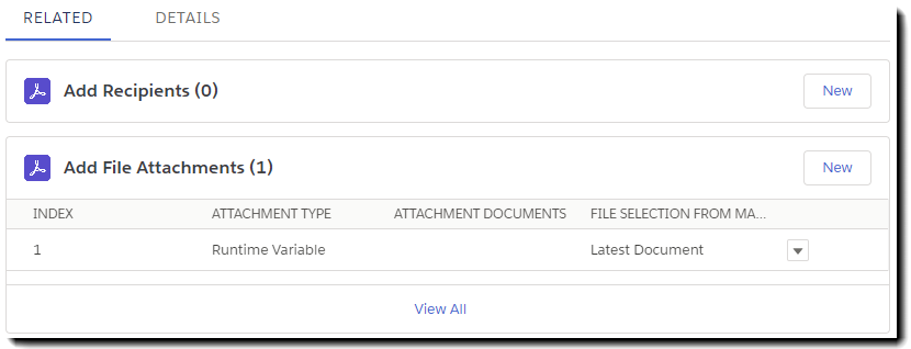Listed file attachments