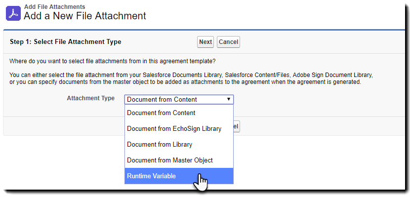Select file attachment type