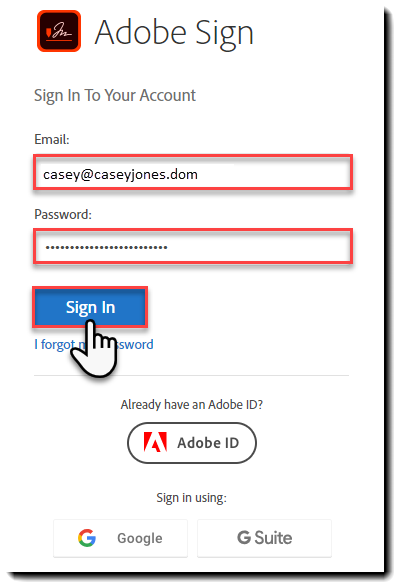 Adobe Sign Authentication