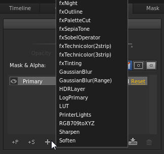 Menu of effects and filters