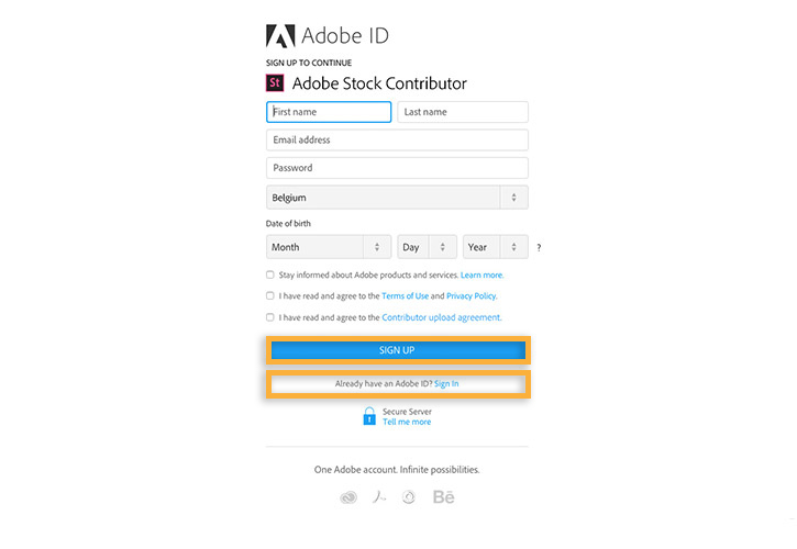 Sign up for Adobe ID