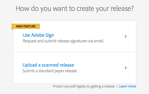 Choose Adobe Sign or scan release