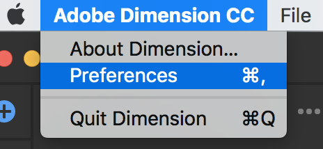 Open Dimension preferences on Mac