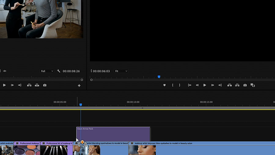 In an Adobe Premiere Pro desktop screenshot, the editor is dragging and dropping a Motion Graphics template called 'Clean Arrow Pack' on the timeline in track V2 above video clips of a makeup artist and a model on track V1