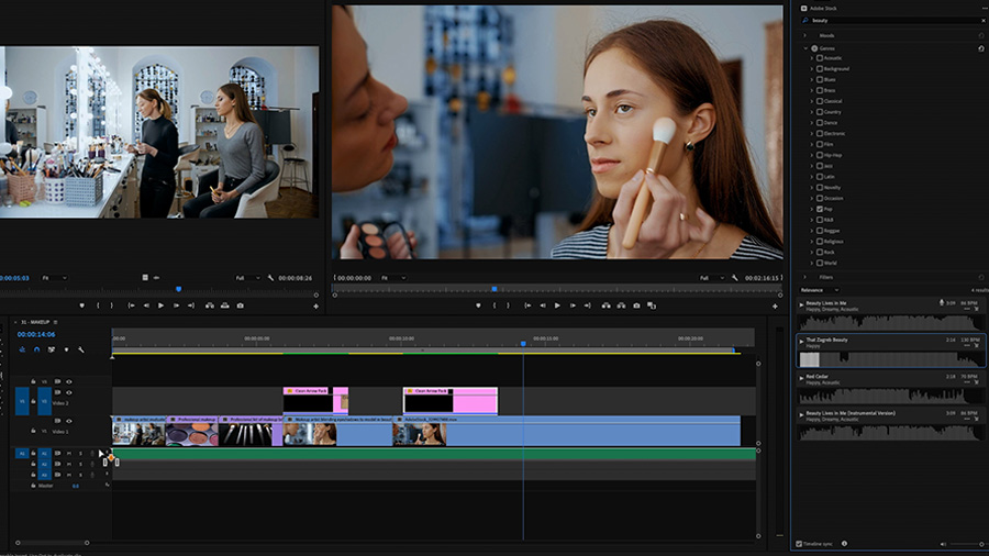 In an Adobe Premiere Pro desktop screenshot, the editor is dropping a new music cue onto an audio track in the timeline of an edit of a makeup artist working with a model