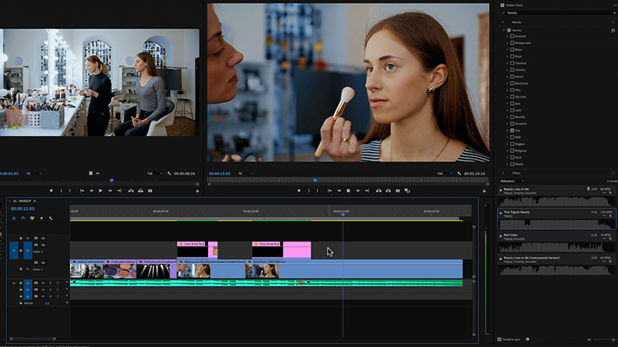 In an Adobe Premiere Pro desktop screenshot, an edit of a makeup artist working with a model