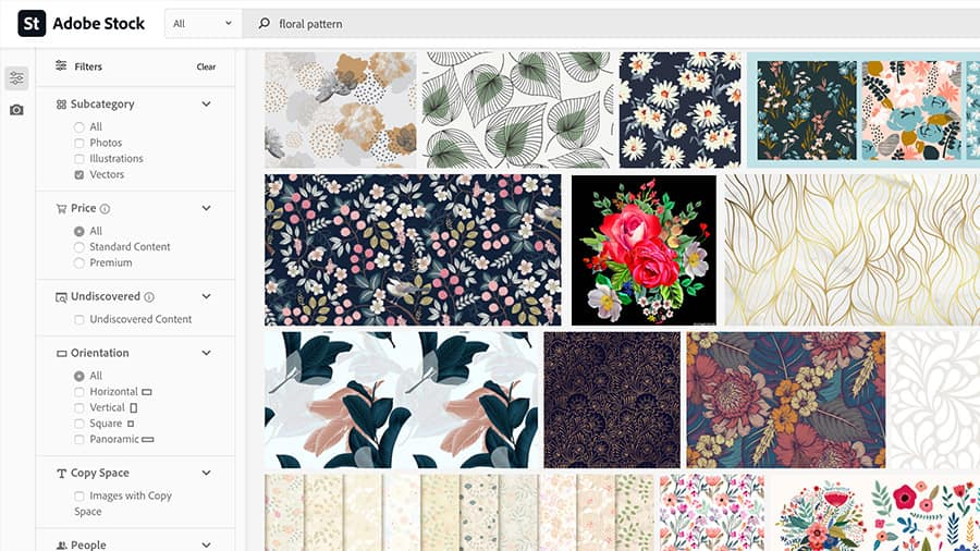 The resulting list of images from an Adobe Stock search for floral patterns.