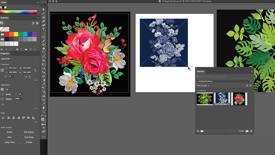 Three artboards in Adobe Illustrator featuring one floral pattern placed on each.