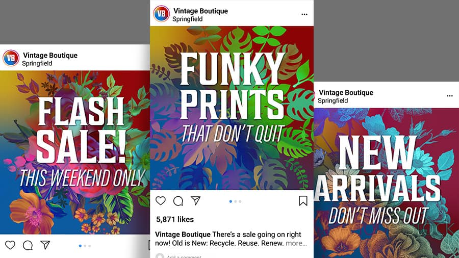 Three images with floral patterns and text used in social media posts.