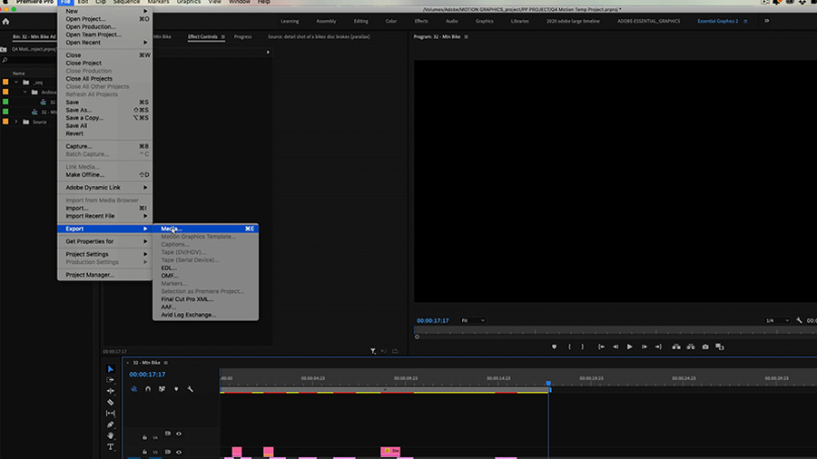 In an Adobe Premiere Pro desktop screenshot, a drop down menu reveals that the editor has clicked File > Export and is hovering their cursor over Media...