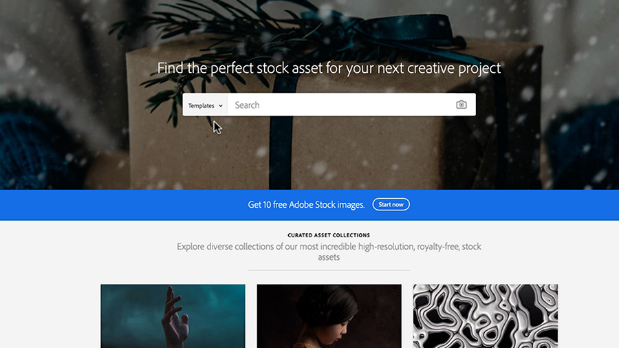 In a screenshot of a web browser window, the Adobe Stock website shows that a visitor has selected the category 'Templates'  which sits in the search field behind a simply wrapped gift box with snow falling around it