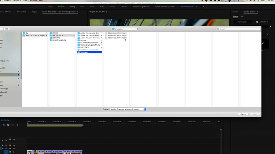In an Adobe Premiere Pro desktop screenshot, the editor navigates a finder window dialogue box to select their newly downloaded Motion Graphics template
