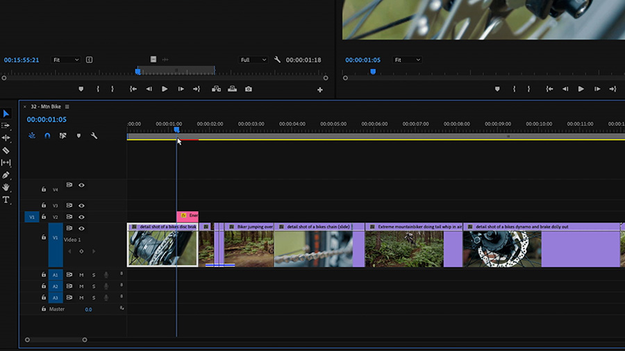 In an Adobe Premiere Pro desktop screenshot, the editor drags and drops a Motion Graphics template on the timeline's track V2 above the edited video on track V1