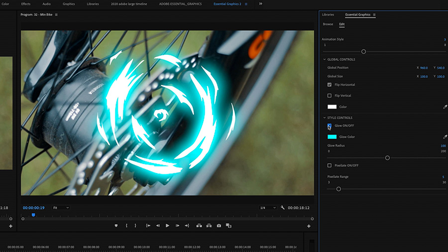 In an Adobe Premiere Pro desktop screenshot focused on the Program Monitor, which shows an extreme close up on the hub, spokes, and disc brake of a mountain bike surrounded by a blue glowing animated graphic, and the Essential Graphics panel, the editor adjustments the Glow ON/OFF in the Motion Graphics template on the timeline