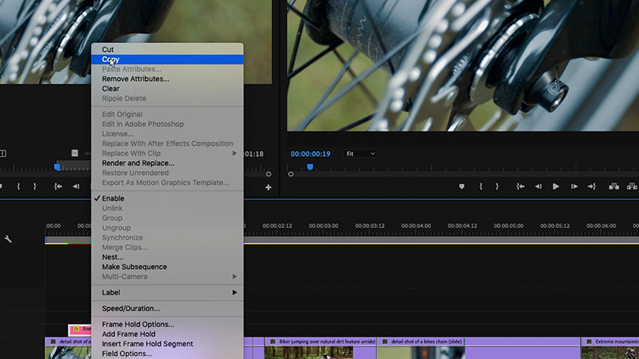 In an Adobe Premiere Pro desktop screenshot, the editor has control+clicked on the Motion Graphics template in the timeline, revealing a pop-up dialogue box, where they've highlighted the word 'Copy'