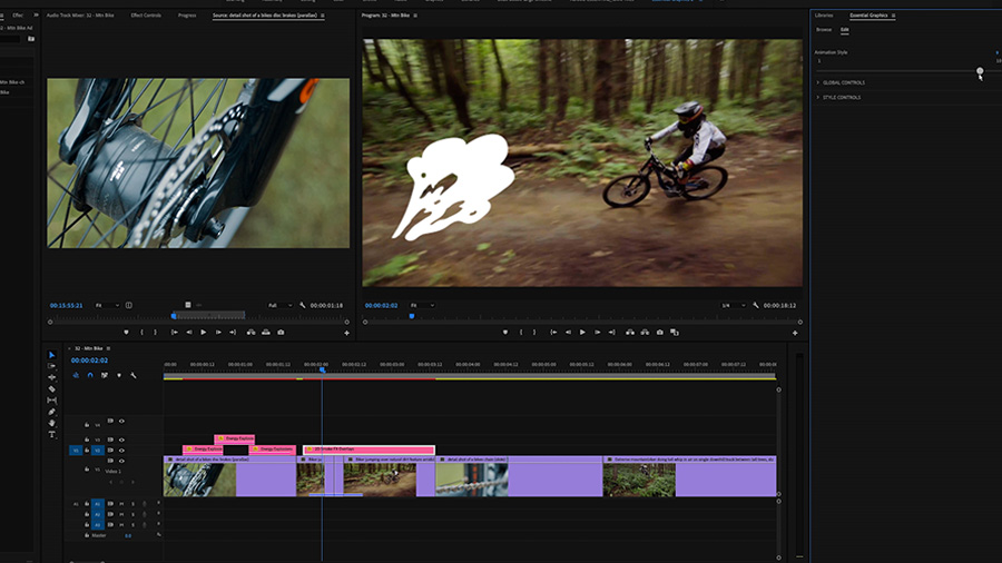 In an Adobe Premiere Pro desktop screenshot, the editor adjusts the settings of a Motion Graphics template in the Essential Graphics panel while in the Program Monitor a mountain bike rider banks a turn in the woods and an animated smoke graphic can be seen on screen
