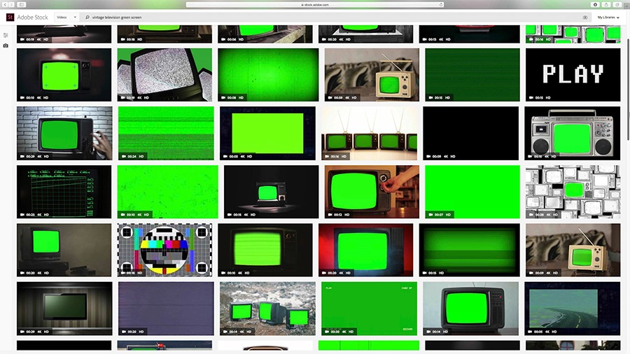 "A screen shot of the Adobe Stock search results page shows the search term ""vintage television green screen"" in the search bar, and a 6x5 grid of search results with green screens populates the page"